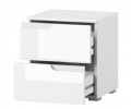 Santino White Gloss 2 Drawer Bedside Table S32 - 2713